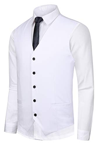 (Hanayome Men's Solid Single Breasted 5 Buttons Wedding Suit Dress Vest (White,L))