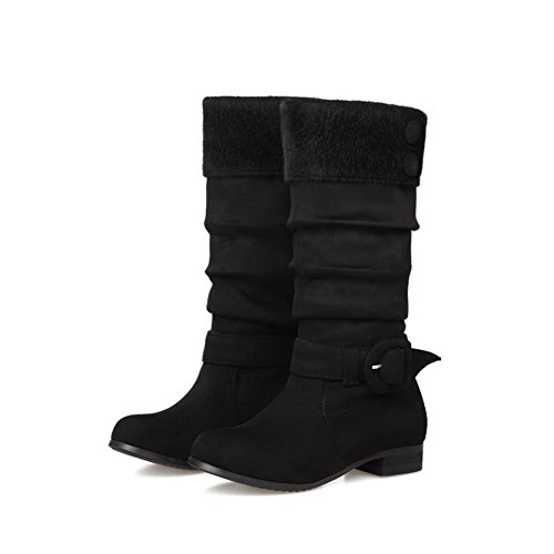 AmoonyFashion Womens Imitated Suede Frosted Round Closed Toe Mid-Top Low-Heels Boots Black nv61Wownn