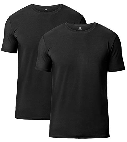 Lapasa Mens 2-Pack Undershirts Micro Modal Crew Neck Tag-Free T Shirts M07, Black, Large(Chest 41Inches-43 Inches)