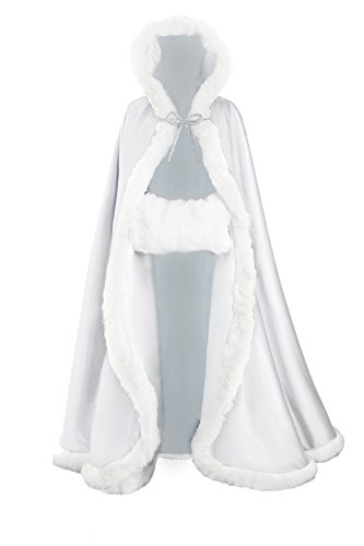 (Wedding Cape Hooded Cloak for Bride Winter Reversible with Fur Trim Free Hand Muff Full Length 55'')