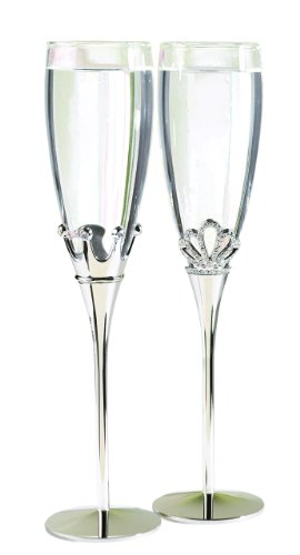 Hortense B. Hewitt Wedding Accessories Champagne Toasting Flutes, King and Queen, Set of 2 (Wedding Flutes Toasting)
