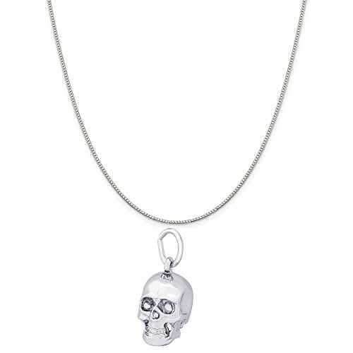 (Rembrandt Charms 14K White Gold Skull Charm on a 14K White Gold Box Chain Necklace, 16