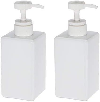 Dispensador de jabón de plástico para baño, cocina, botella cuadrada vacía para desinfectante de manos, loción, champú, gel de ducha, de Uviviu , plástico, Blanco, 450 ml: Amazon.es: Hogar