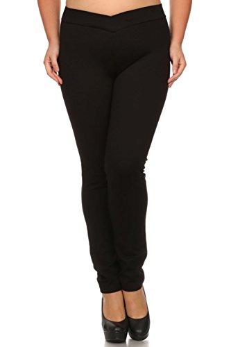Bubble B Women's Plus Size Full Length Elastic V Waist Pants One Size Black 1X