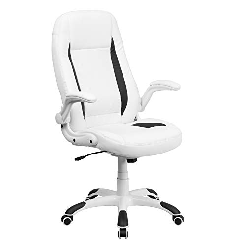 Flash Furniture High Back White Leather Executive Swivel Chair with Flip-Up Arms -