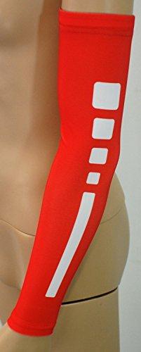 Nexxgen Sports Apparel Compression Arm Sleeve (Single)- 40 Styles and Colors- Men, Women, Youth - Basketball Shooter, Football, Baseball, Lymphedema, Tattoo (Youth Medium, Elite Red/White)