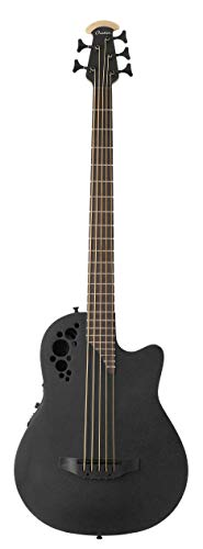 Ovation Mod TX Collection Acoustic-Electric Bass Guitar, Right, Textured Black, 5 String (B7785TX-5)