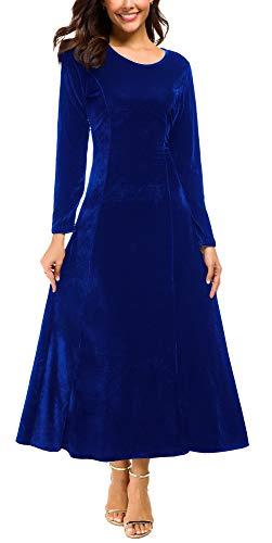 Urban CoCo Women's Elegant Long Sleeve Ruched Velvet Stretchy Long Dress (S, Royal Blue)