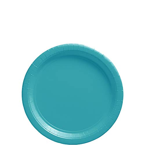 Amscan Caribbean Blue Dessert Paper Plate Big Party Pack, 50 Ct. ()