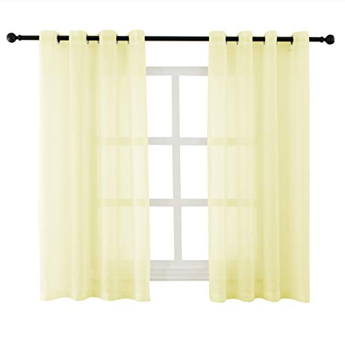 (Bermino Sheer Curtains Voile Grommet Semi Sheer Curtains for Bedroom Living Room Set of 2 Curtain Panels 54 x 45 inch Light Yellow)