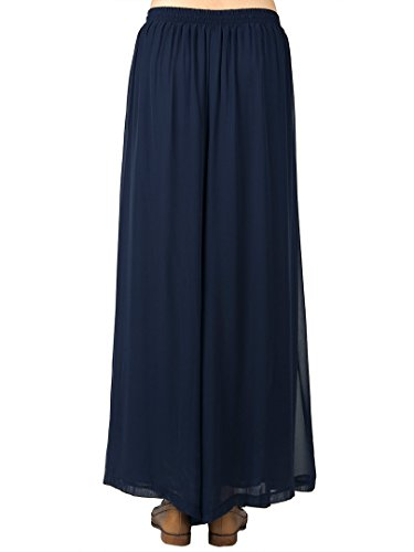 YSJERA Womens Pleated Cropped Pants Solid Straight-Leg Wide Leg Culottes Trousers XL,Navy Blue