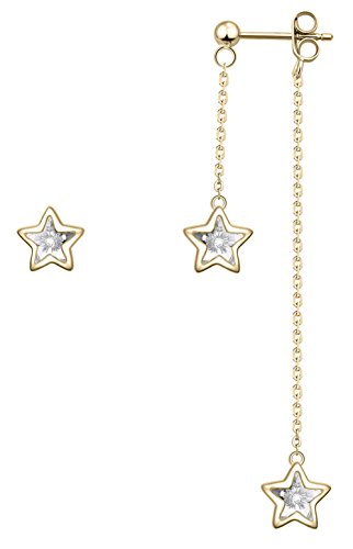 ilver Triple Swarovski Crystal Stars Asymmetric Design of Stud and Dangling Earrings Color Golden ()