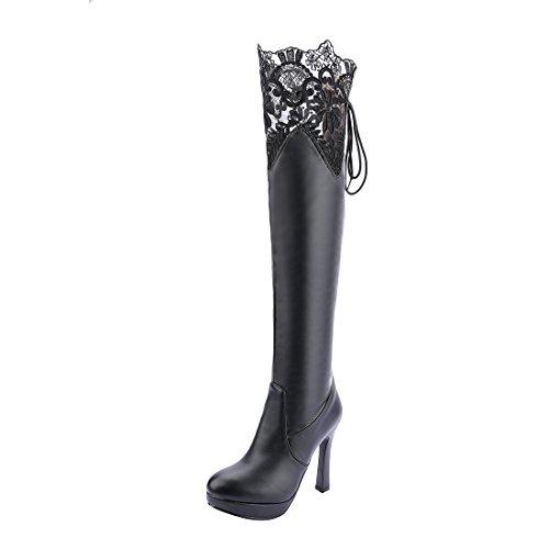 Platefore Mi À En Haut Aiguilles Avec Chaussures Femmes mollet Lace Lacets Sexy Et Noir Mode Talons Uh Bottes C0gFwxqRO