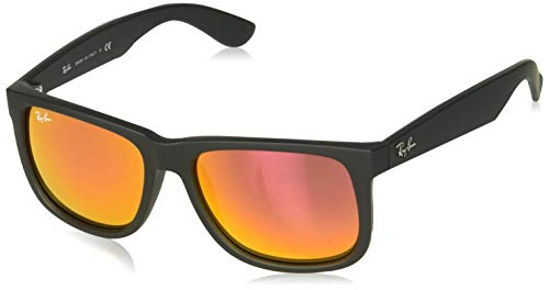 Ray-Ban RB4165 Justin Rectangular Sunglasses, Black Rubber/Orange Mirror, 55 ()