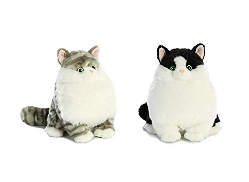 (Aurora Bundle of 2 - 9.5 inch Fat Cats: Dumpling Grey Tabby and Muffins Tuxedo Cat)
