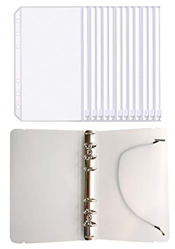 FJCA 12pcs Plastic Clear Binder Envelopes 4 1/5 x 6 3/4 Loose Leaf Bags Budget Envelope System, with Binder Cover ()