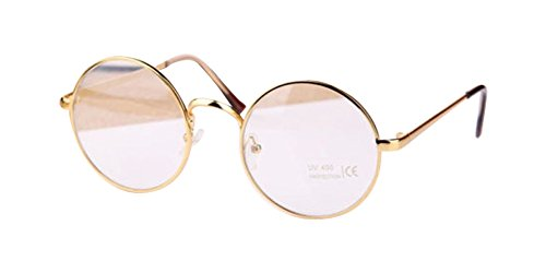 Gold Retro Big Round Metal Frame Clear Lens Glasses Designer Nerd Spectacles - Big Round Spectacles