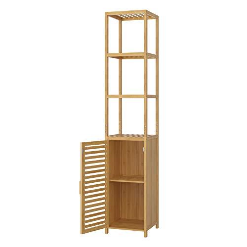 Homfa Bambus Standregal schmal Hochschrank verstellbar Badezimmerschrank mit 3 Ablagen Badregal mit Schrank für Küche…