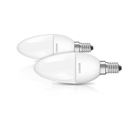 OSRAM LED-Kerzenform E14 Star Classic B / 6W - 40 Watt-Ersatz, LED-Kerzenlampe / matt, warmweiß - 2700K / Pappbox 2er Promo-Pack