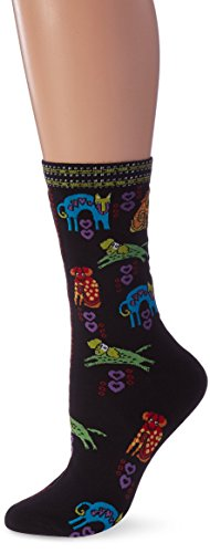 Laurel Burch Socks-Dog Portraits-Black