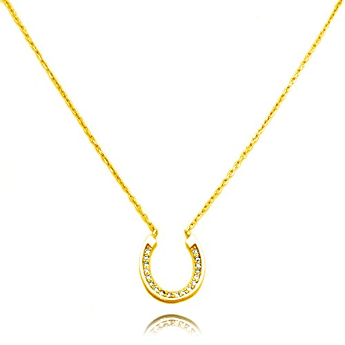 (TIONEER 14K Gold Plated Sterling Silver Small Horseshoe Charm Necklace, 16 Inches (+2