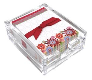 Blooming Color Acylic Desk Note Set,Memo Sheets and Acrylic Holder, 180 Note Papers, 3.25 x 4.25