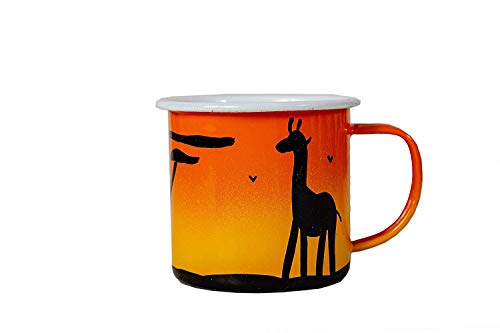 Lumela Hand Painted Enamel Coffee Mugs Wildlife Jungle Animals Giraffe, Rhino & Elephant African Sunset ()
