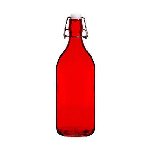 (Colorful Reusable Glass Water Bottles With Swing Top Leakproof Cap, 1L / 34oz, Flowersea Glasss Water Bottle for Oil, Vinegar, Beverages, Beer, Water, Kombucha, Kefir, Soda (Red, Round))