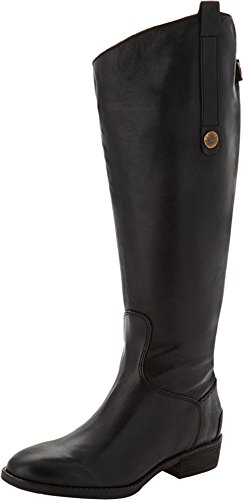 Sam Edelman Women's Penny 2 Wide Shaft Riding Boot, Black Leather, 9 M US