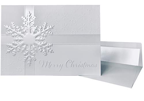 Premium Christmas Cards - 20 Pack - White Pearl Foil Embossed Snowflakes - 20 Classic Holiday Cards with Matching Pearl Foil Lined Envelopes