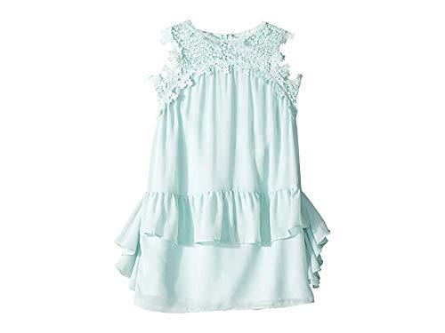 BCBG Girls Girl's Embroidered Trap Chiffon Ruffle Dress (Big Kids) Aquamarine 10