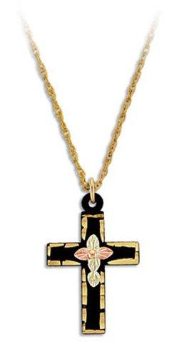 Landstroms Base Metal Black Hills Cross Pendant Necklace with 10k Gold Trim, 18