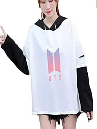 BTS Hoodie Kpop Pullover women fake two pieces Cap Sweatshir