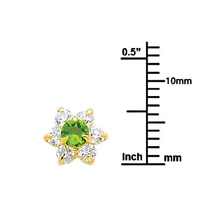 Wellingsale 14K Yellow Gold Polished Flower Birth CZ Cubic Zirconia Stone Stud Earrings With Screw Back August