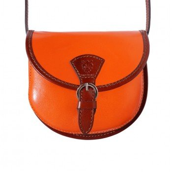 - LaGaksta Mini Round Italian Leather Shoulder Crossbody Saddle Bag Orange-Brown