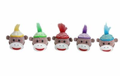 Multipet Sock Monkey Squeaker Head 4in ()