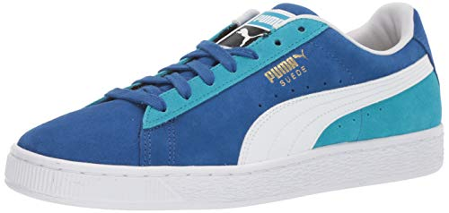 PUMA Men's Suede Classic Sneaker, Surf The Web White-Caribbean sea, 11.5 M US