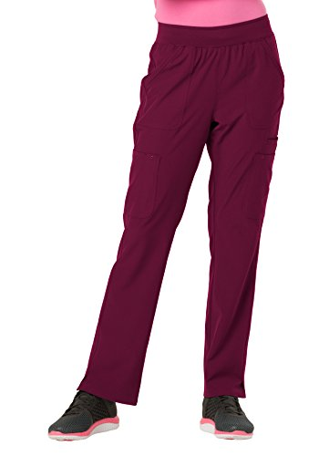 HeartSoul Women's HS020'' Drawn To Love Low Rise Pull-On Cargo Pant- Wine- Small Petite by HeartSoul Scrubs (Image #1)