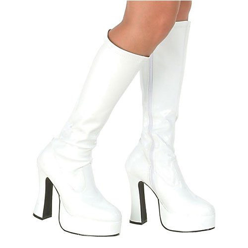 Ellie Shoes High Heel White PU Stretch Knee High Boot Inner Zipper CHACHA/WHTP-14