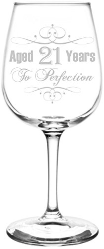 (21st) Aged To Perfection Elegant & Vintage Birthday Celebration Inspired - Laser Engraved 12.75oz Libbey All-Purpose Wine Taster Glass -