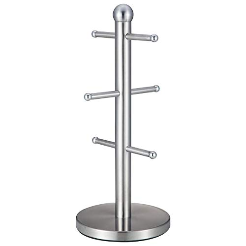 DiamondHome Sturdy 3 Branch Stainless Steel Mug Tree Fits 6 Large Coffee Mugs Cups, Silver