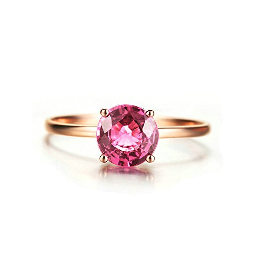 Beydodo Rings for Women 18k Real Gold 0.75ct 4-prong Tourmaline Diamond Ring Solitaire Rose Gold Size 6 by Beydodo