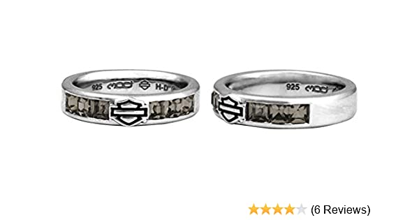 Harley Davidson Wedding Rings.Harley Davidson Women S Ring Black Ice Crystals Bar Shield Band Hdr0360