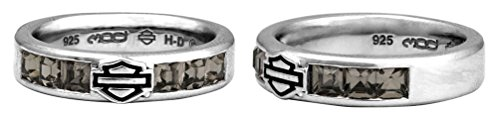 Harley-Davidson Women's Ring, Black Ice Crystals Bar & Shield Band HDR0360 (7)