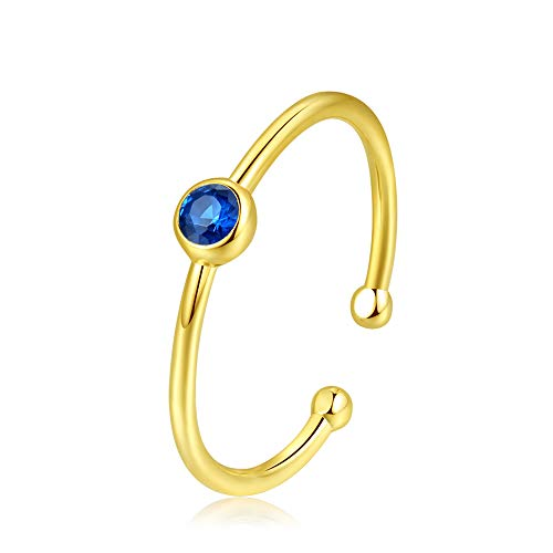 (espere Sterling Silver Birthstone Stacking Ring Dainty Birthstone Rings Open Adjustable [September -)