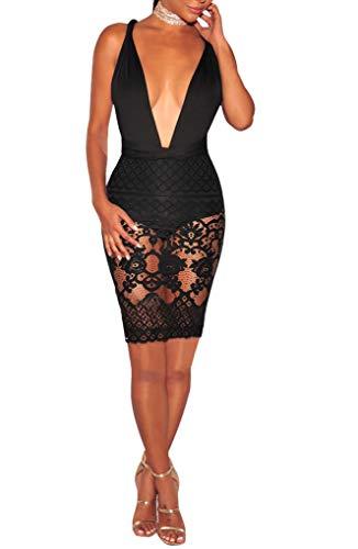 Sexycherry Women Boho Bodycon Sexy Lace Floral Halter Strap Deep V Neck Evening Club Mini - Lace Dress Black Club