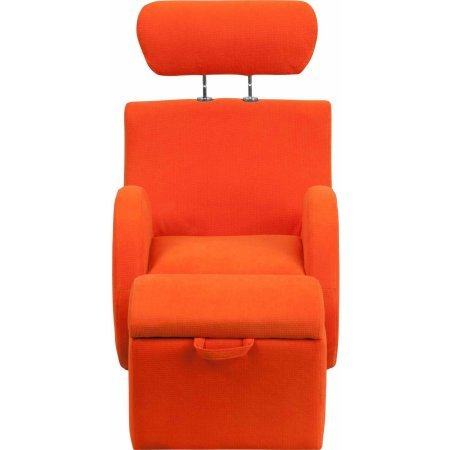 Flash Furniture LD2025BGFAB HERCULES Series Fabric Material Rocking Chair with Storage Ottoman, Orange Color by Flash Furniture