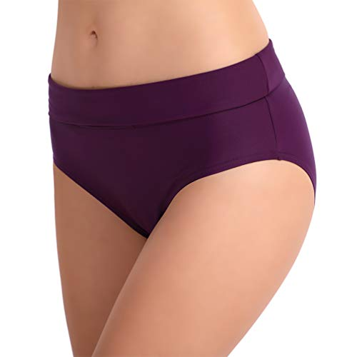 TIMETERNY Women's Mid-Rise Bikini Bottom Ruched Sides High Waist Swimsuit Bottoms for Women,Purple/L (Over Bikini)