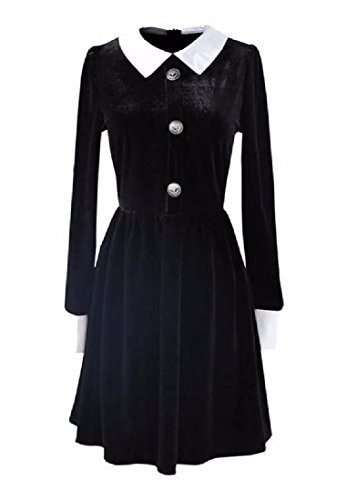 Pleated Stitching Velvet Black Elegant Coolred Women Solid Dress Waist Lapel RqYwx