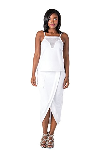 Poetic Justice Women's Curvy Fit White Stretch French Terry Cross Front Tulip Skirts Size (Tulip Cross)